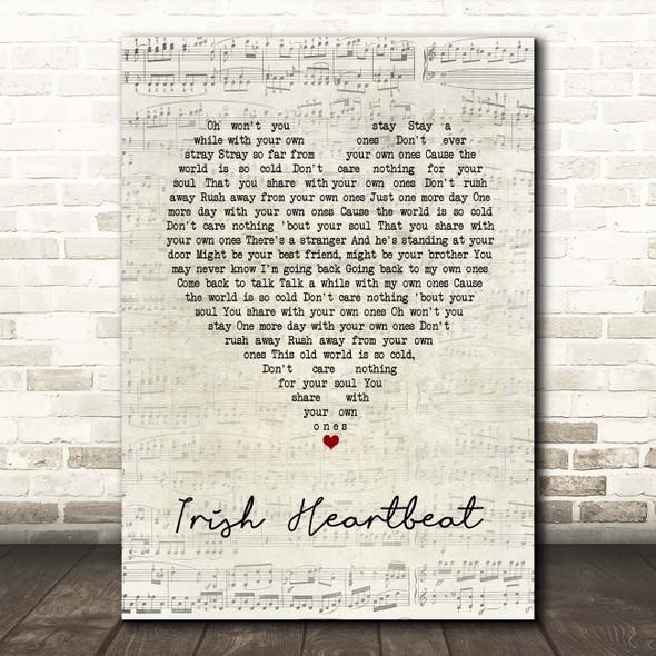 Van Morrison Irish Heartbeat Script Heart Song Lyric Print