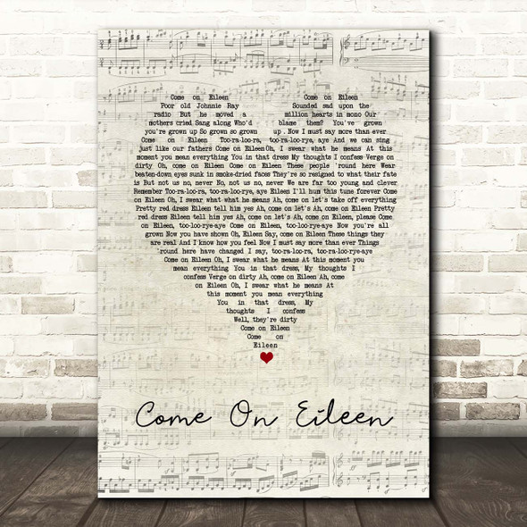 Dexys Midnight Runners Come On Eileen Script Heart Song Lyric Print