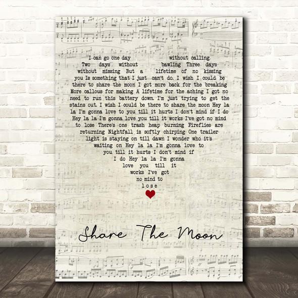 Indigo Girls Share The Moon Script Heart Song Lyric Print
