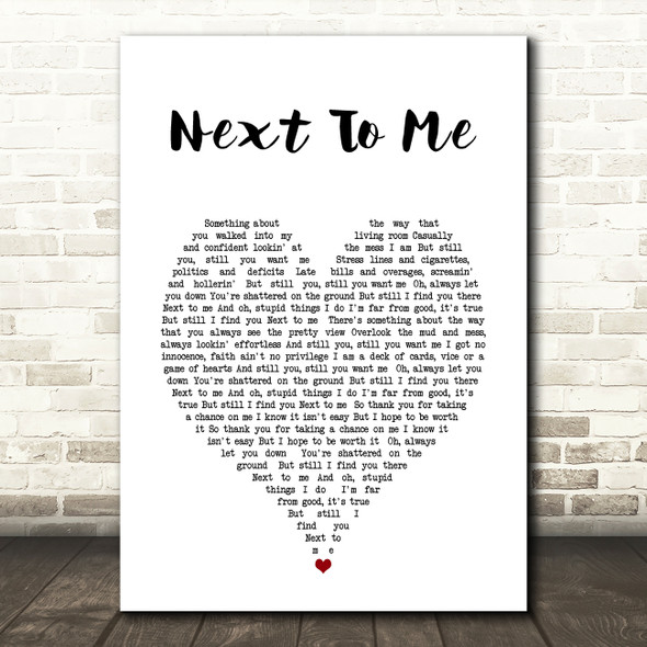 Imagine Dragons Next To me Heart Song Lyric Quote Print
