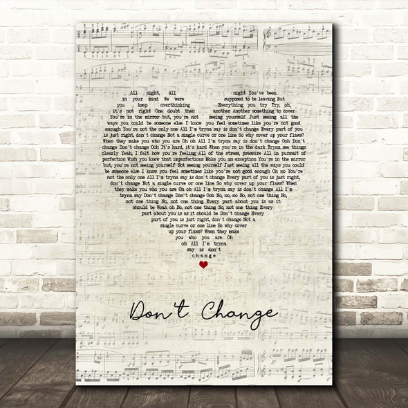 Why Don't We Don't Change Script Heart Song Lyric Print