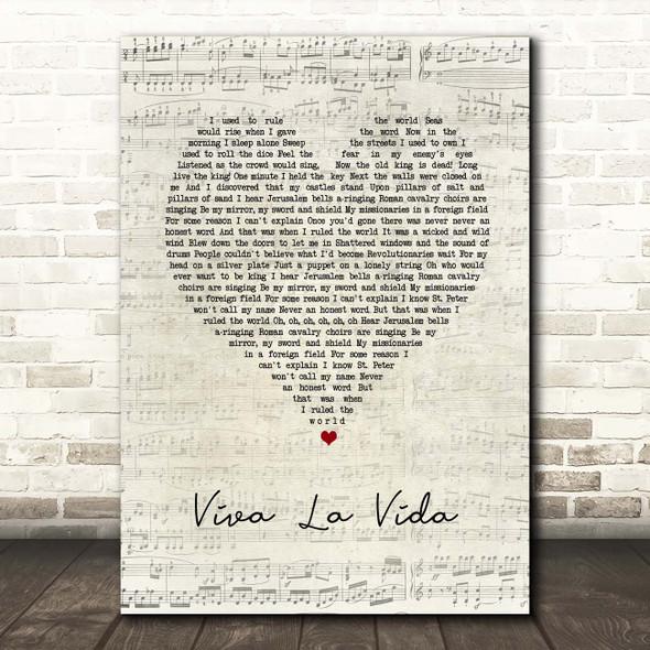 Coldplay Viva La Vida Script Heart Song Lyric Print