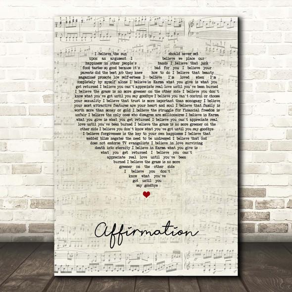 Savage Garden Affirmation Script Heart Song Lyric Print
