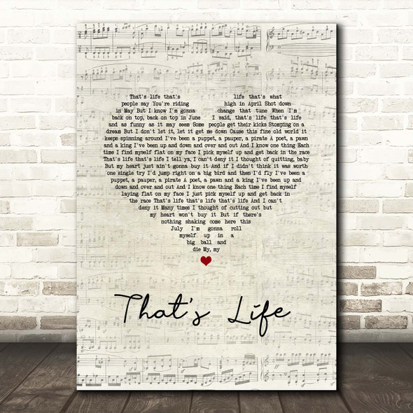 Frank Sinatra That's Life Script Heart Song Lyric Print