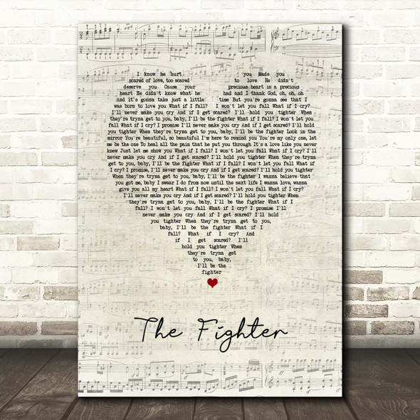 Keith Urban The Fighter Script Heart Song Lyric Print