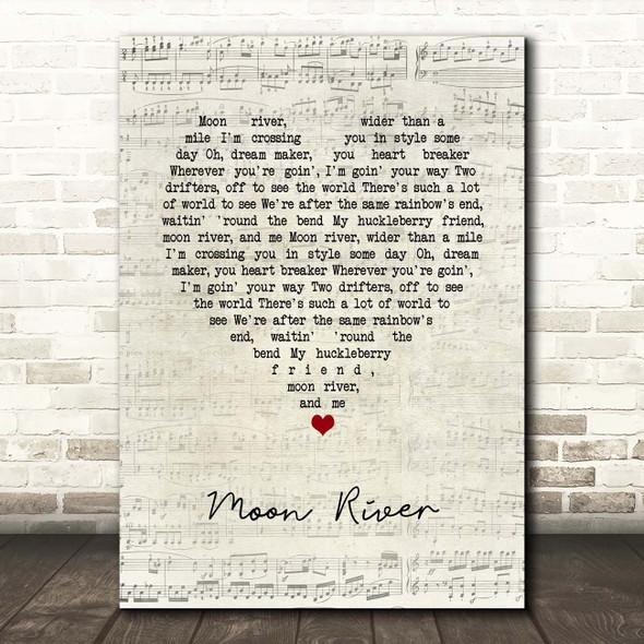 Henry Mancini Moon River Script Heart Song Lyric Print