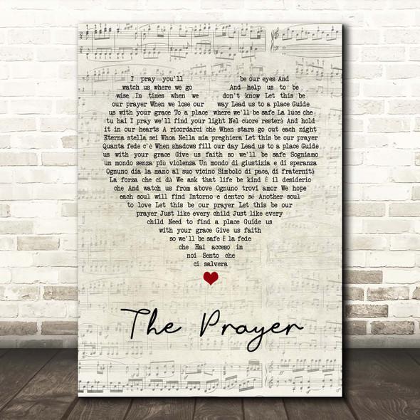 Andrea Bocelli & Celine Dion The Prayer Script Heart Song Lyric Print