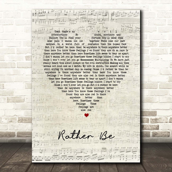 The Verve Rather Be Script Heart Song Lyric Print