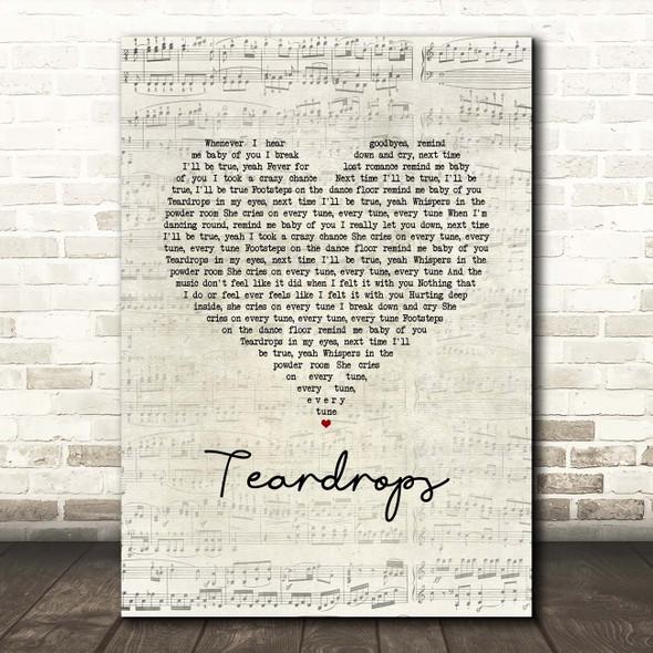 Womack & Womack Teardrops Script Heart Song Lyric Print