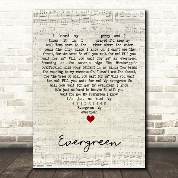YEBBA Evergreen Script Heart Song Lyric Print