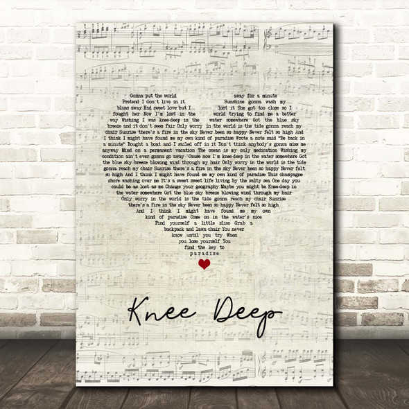 Zac Brown Band Knee Deep Script Heart Song Lyric Print