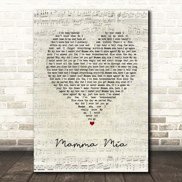 ABBA Mamma Mia Script Heart Song Lyric Print