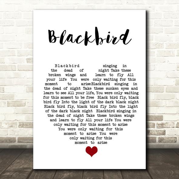 Blackbird The Beatles Quote Song Lyric Heart Print