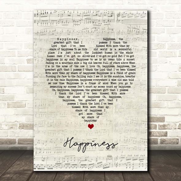 Ken Dodd Happiness Script Heart Song Lyric Print