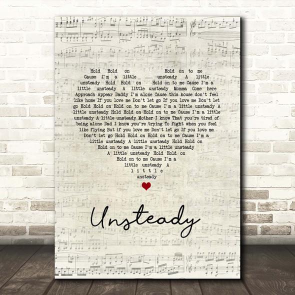 X Ambassadors Unsteady Script Heart Song Lyric Print