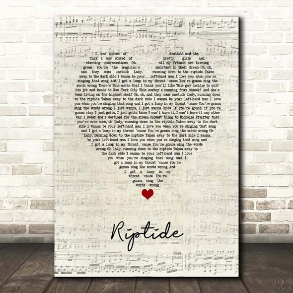 Vance Joy Riptide Script Heart Song Lyric Print