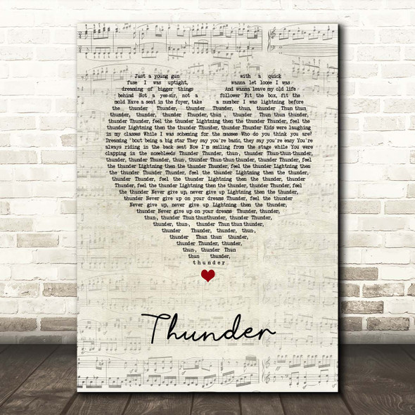 Imagine Dragons Thunder Script Heart Song Lyric Print
