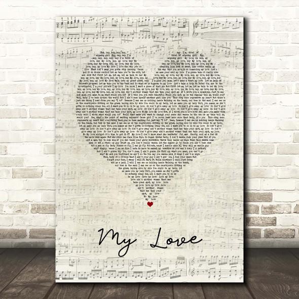 Justin Timberlake My Love Script Heart Song Lyric Print