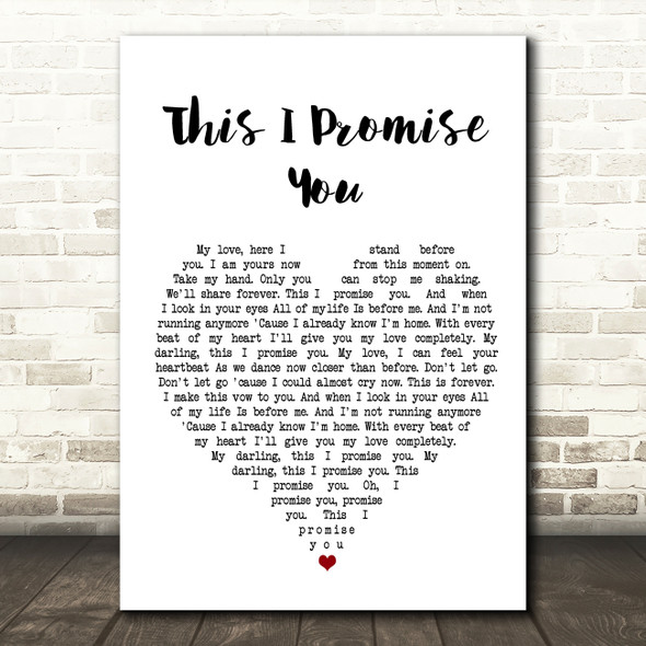Ronan Keating This I Promise You Heart Song Lyric Quote Print