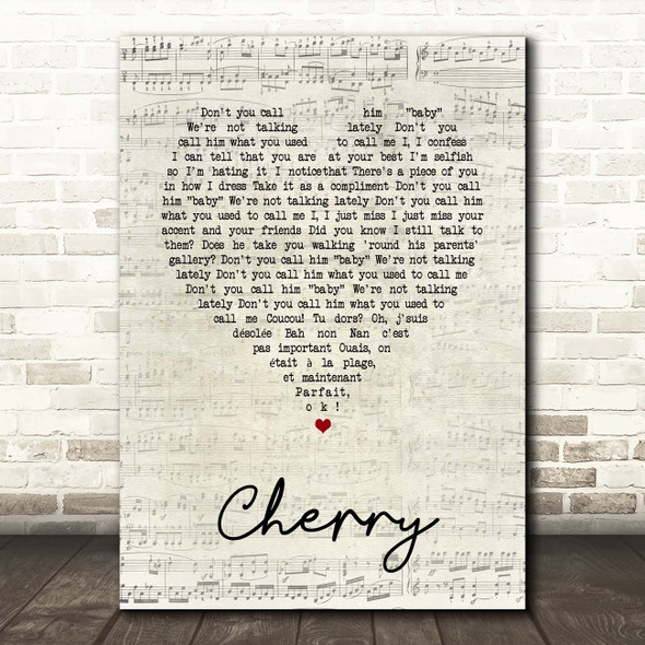 Harry Styles Cherry Script Heart Song Lyric Print