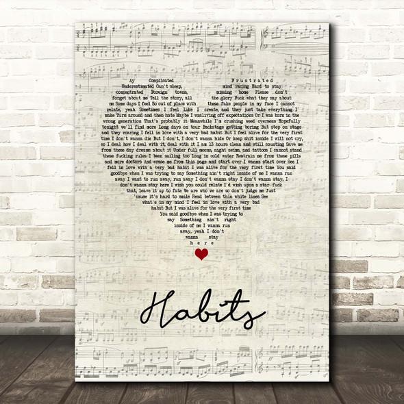 Machine Gun Kelly Habits Script Heart Song Lyric Print