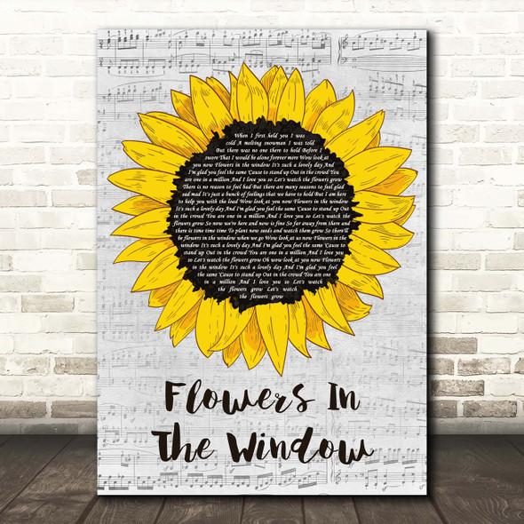 Travis Flowers In The Window Grey Script Sunflower Song Lyric Print