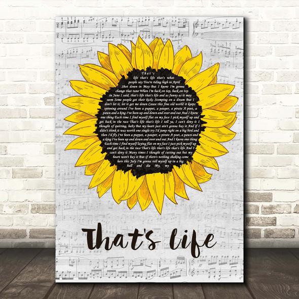 Frank Sinatra That's Life Grey Script Sunflower Song Lyric Print
