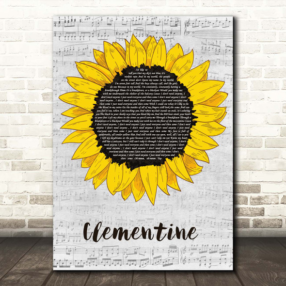 Halsey Clementine Grey Script Sunflower Song Lyric Print