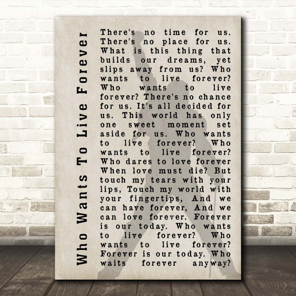 Queen Who Wants To Live Forever Shadow Song Lyric Print