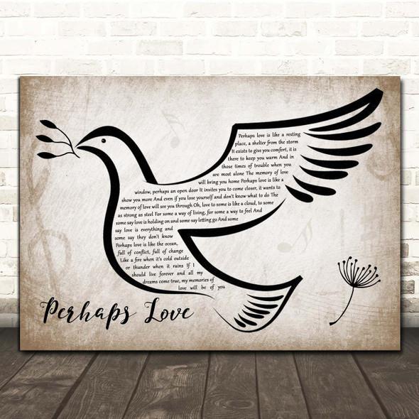 John Denver Perhaps Love Vintage Dove Bird Song Lyric Print