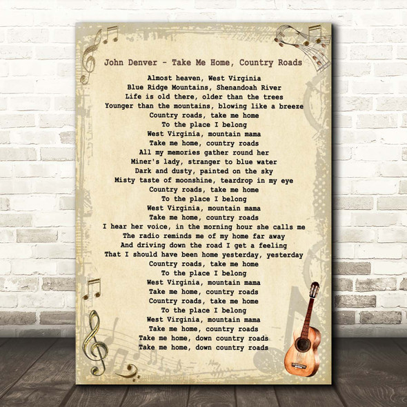 John Denver Take Me Home, Country Roads Vintage Guitar Song Lyric Print