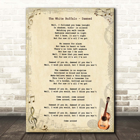 The White Buffalo Damned Vintage Guitar Song Lyric Print