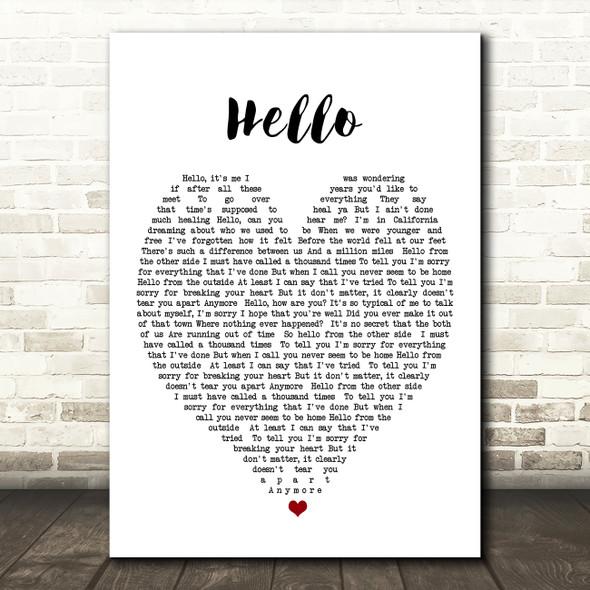 Hello Adele Heart Quote Song Lyric Print