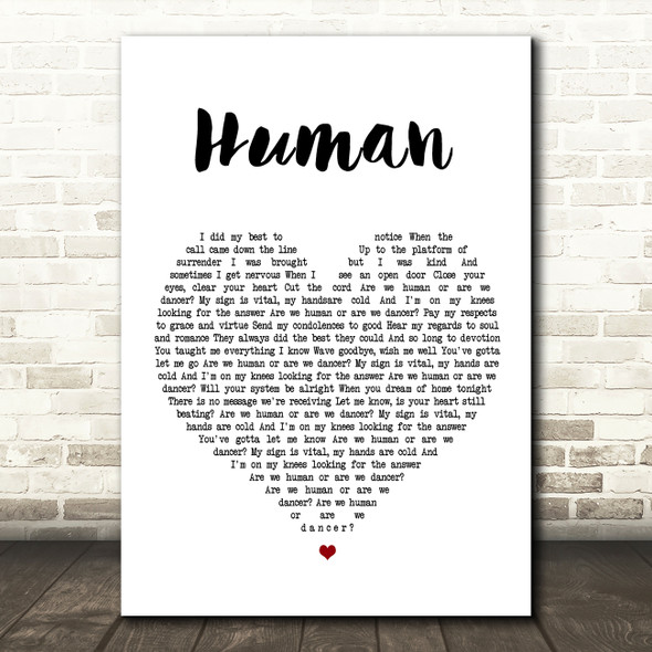 The Killers Human Heart Song Lyric Quote Print