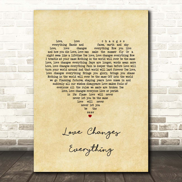 Il Divo with Michael Ball Love Changes Everything Vintage Heart Song Lyric Print