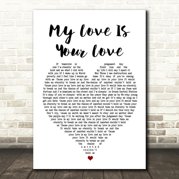 Whitney Houston My Love Is Your Love Heart Song Lyric Quote Print