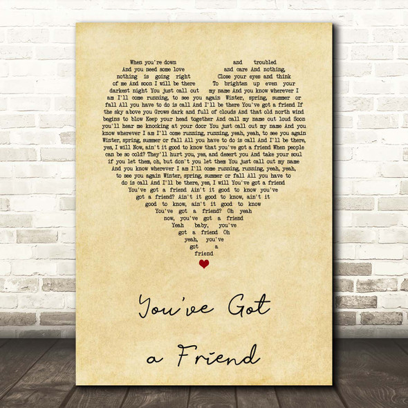 Carole King You've Got a Friend Vintage Heart Song Lyric Print