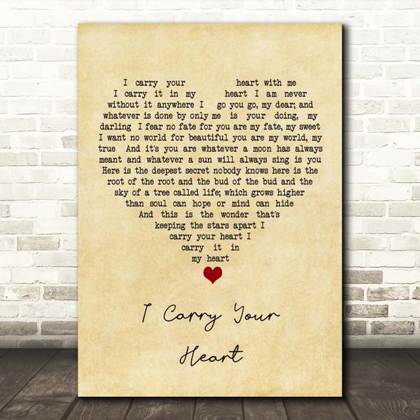 E.E. Cummings I Carry Your Heart Vintage Heart Song Lyric Print