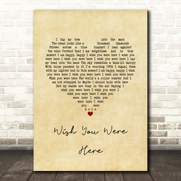 Incubus Wish You Were Here Vintage Heart Song Lyric Print