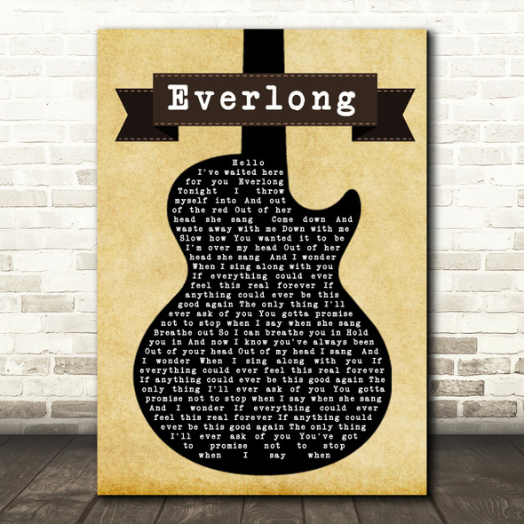 Foo Fighters Everlong Black Guitar Song Lyric Quote Print