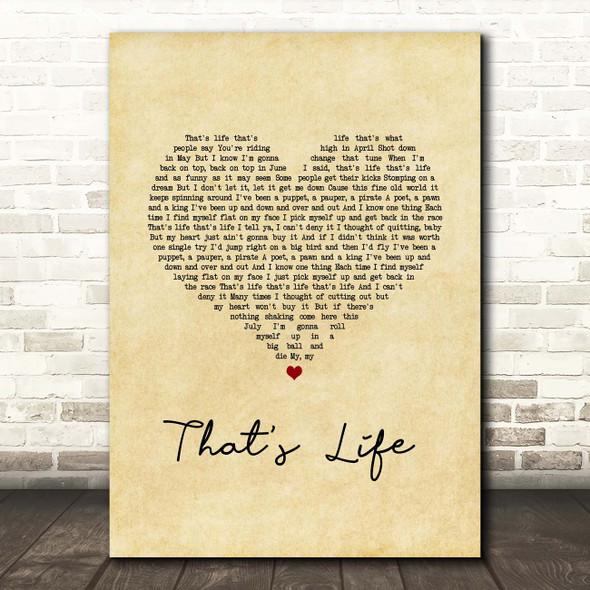 Frank Sinatra That's Life Vintage Heart Song Lyric Print