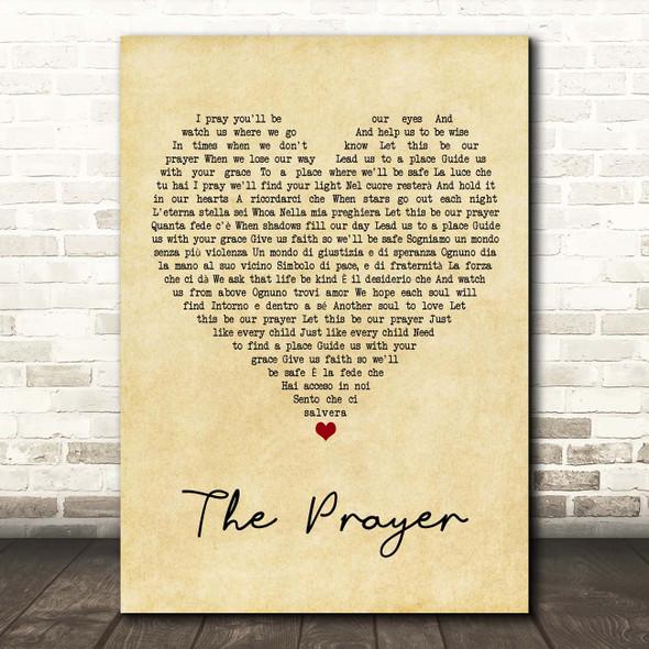 Celine Dion & Andrea Bocelli The Prayer Vintage Heart Song Lyric Print
