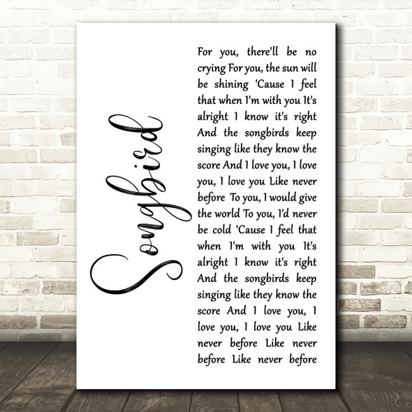 Eva Cassidy Songbird White Script Song Lyric Quote Print