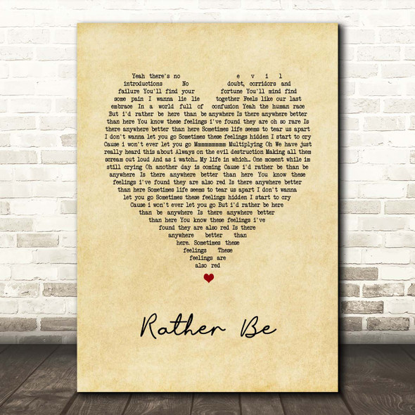 The Verve Rather Be Vintage Heart Song Lyric Print