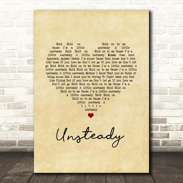 X Ambassadors Unsteady Vintage Heart Song Lyric Print