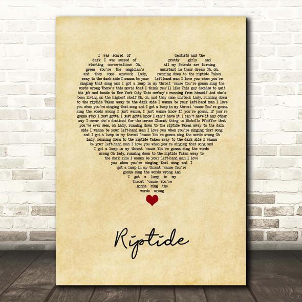 Vance Joy Riptide Vintage Heart Song Lyric Print
