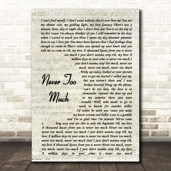Luther Vandross Never Too Much Vintage Script Song Lyric Print