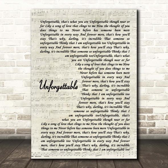 Nat King Cole Unforgettable Vintage Script Song Lyric Print