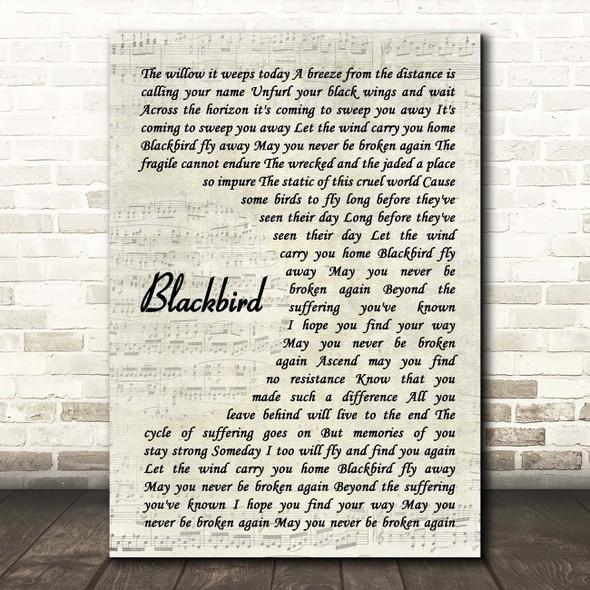 Alter Bridge Blackbird Vintage Script Song Lyric Print