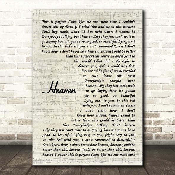 Kane Brown Heaven Vintage Script Song Lyric Print